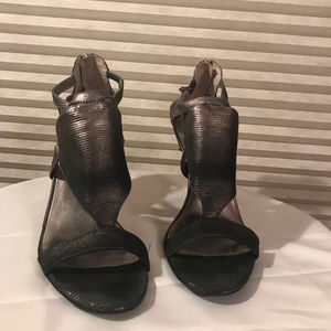 Black and Gray Heeled Sandals